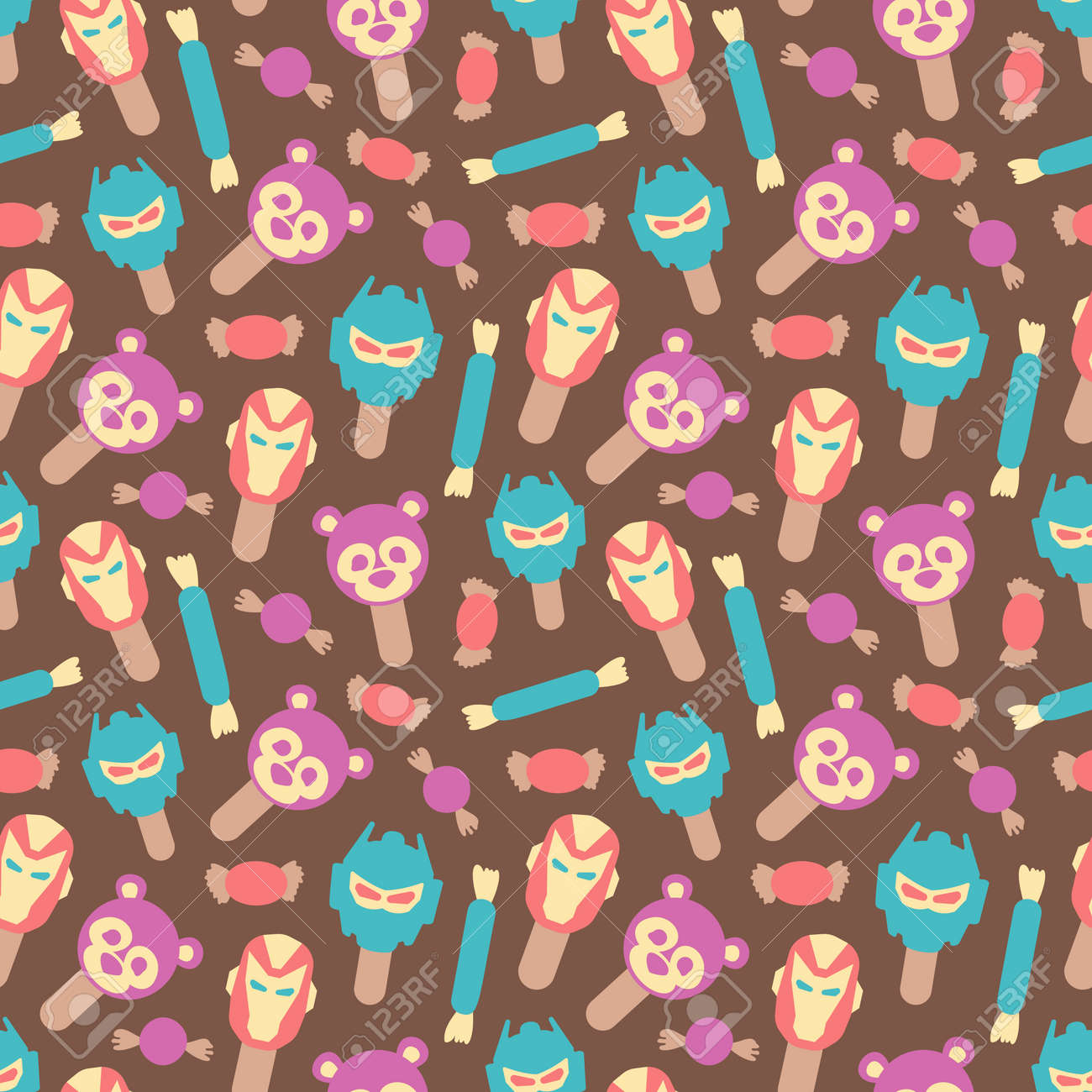 Seamless background pattern with many different colored and isolated sweets lollipops and ice cream vector illustration - 168741472
