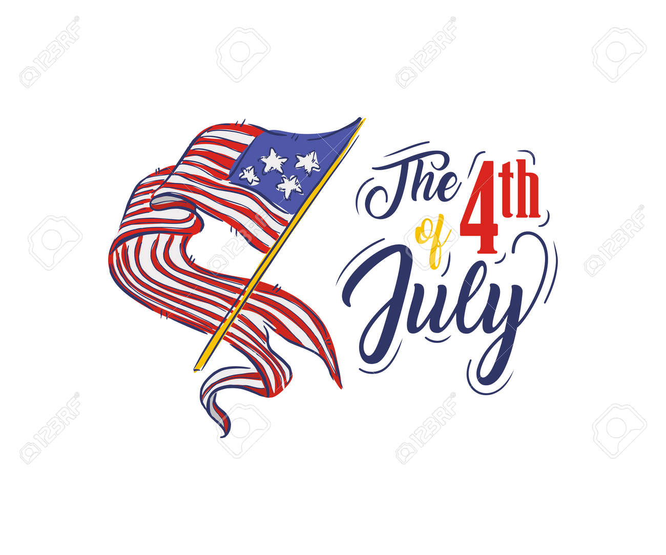 Fourth of July Typography Design Collection - 4th of July - A set of twelve vintage style Independence Day Designs - 169566551