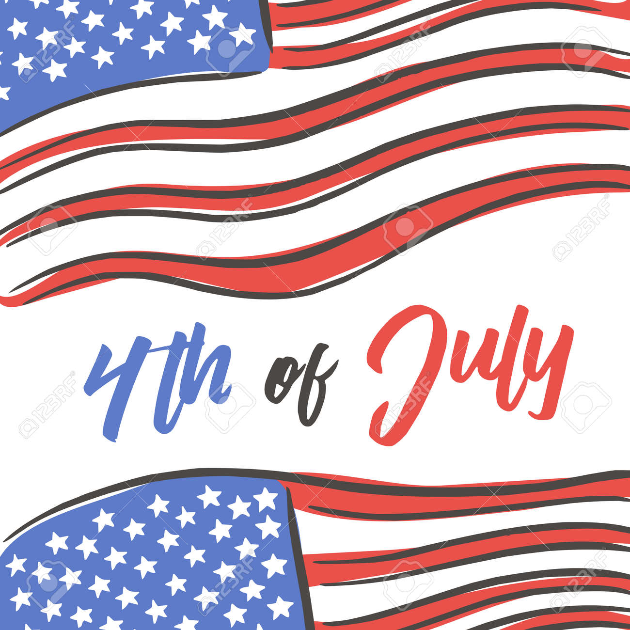 Fourth of July Typography Design Collection - 4th of July - A set of twelve vintage style Independence Day Designs - 169566555