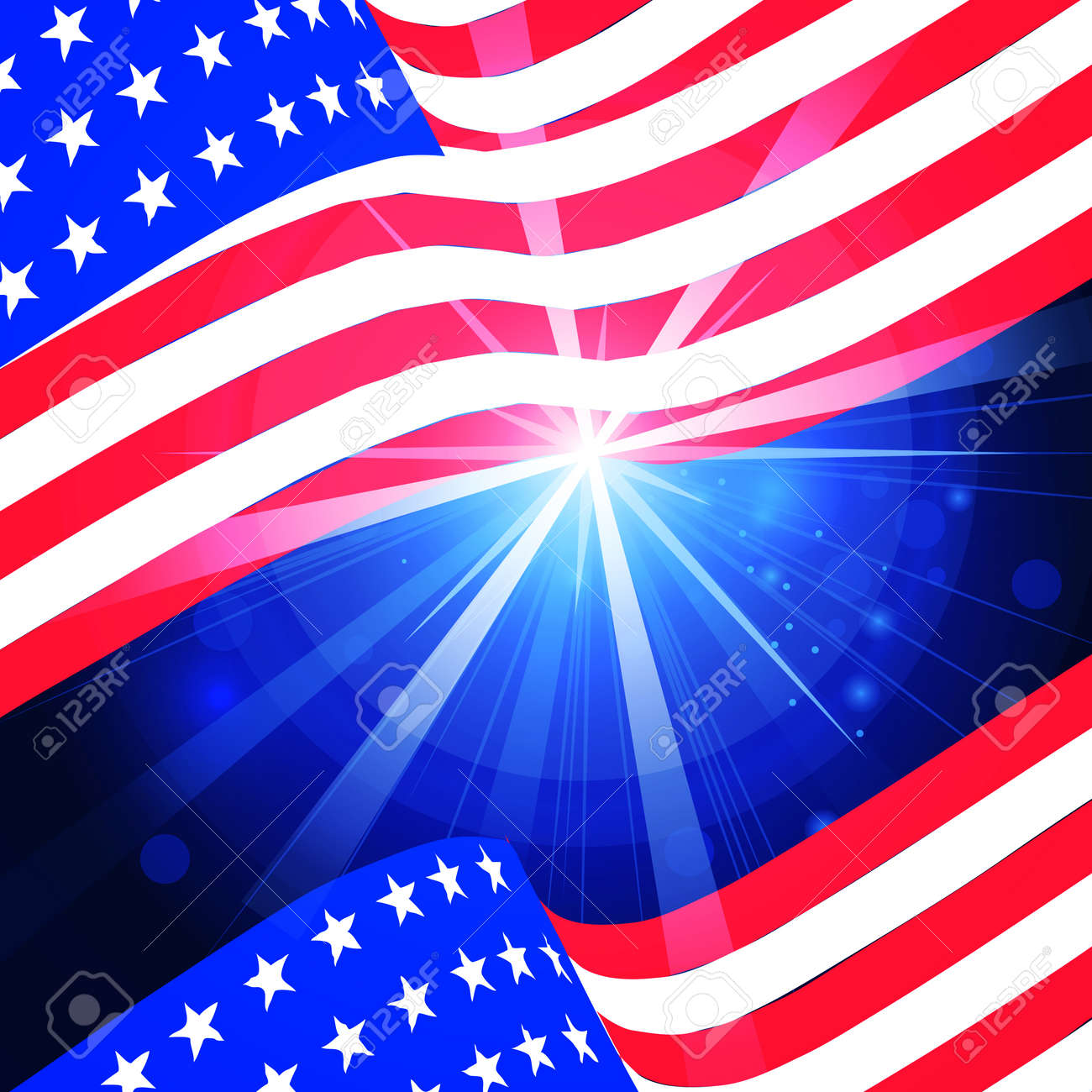 illustration of wavy American Flag for Independence Day - 169566563