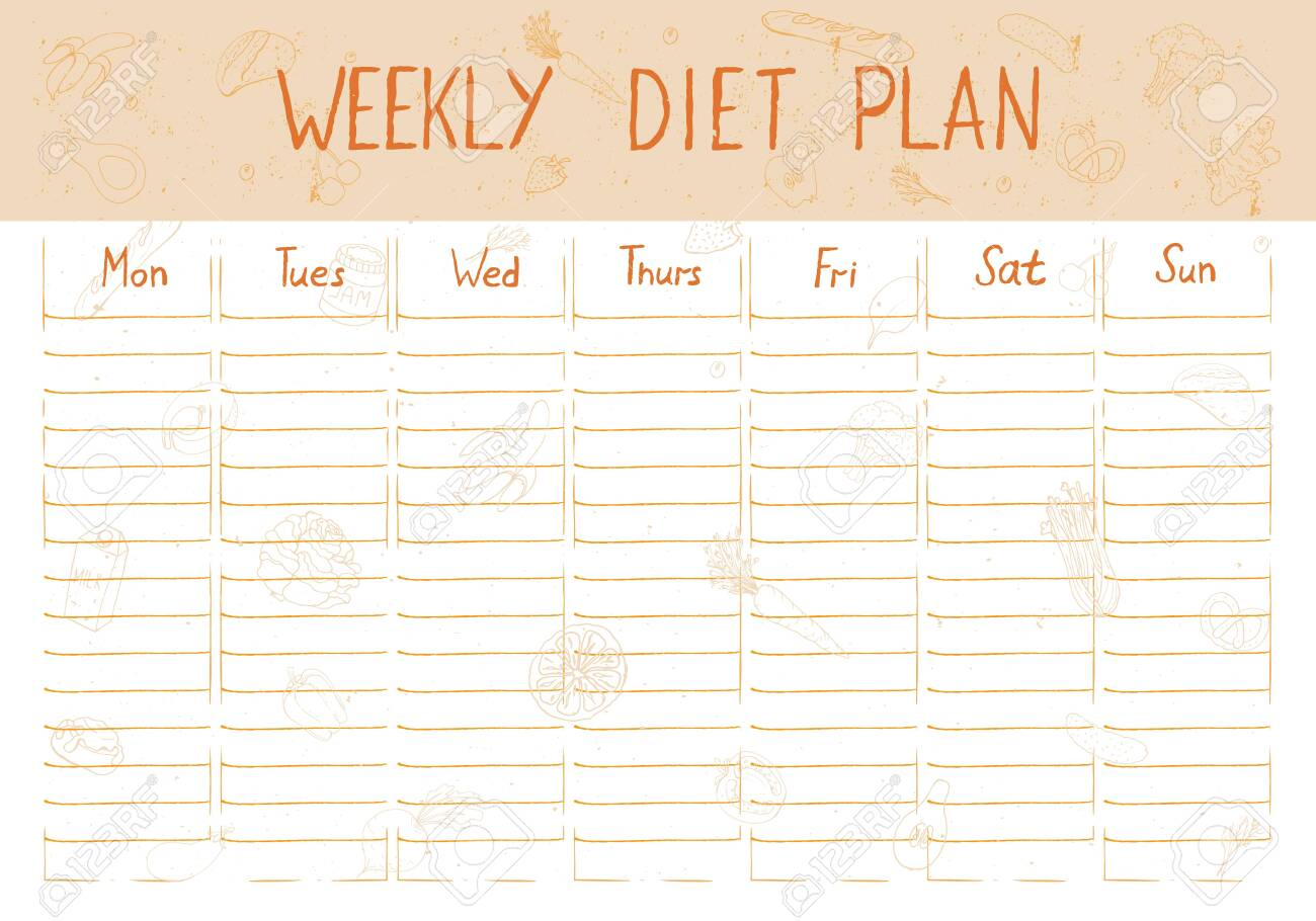 Cute A4 Template For Weekly And Daily Diet Plan With Lettering Royalty Free Cliparts Vectors And Stock Illustration Image 139100750