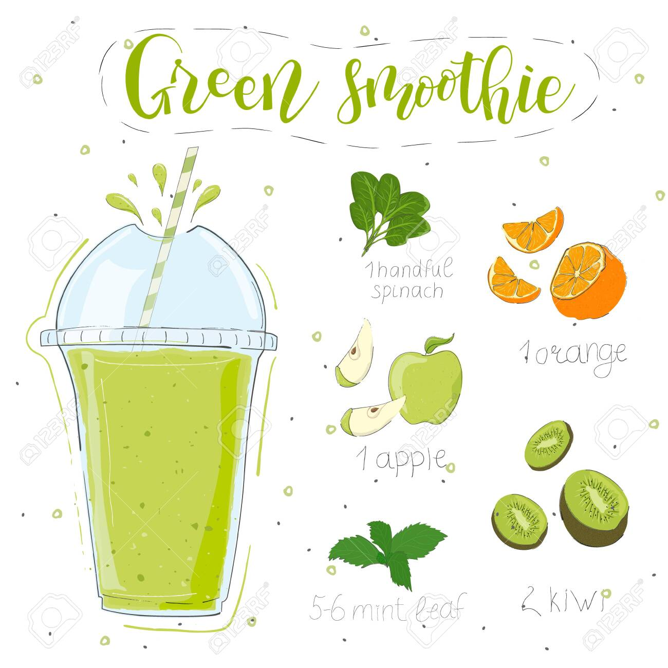Green smoothie recipe. With illustration of ingredients. Hand draw spinach, orange, apple, kiwi, mint. Doodle style - 142227113