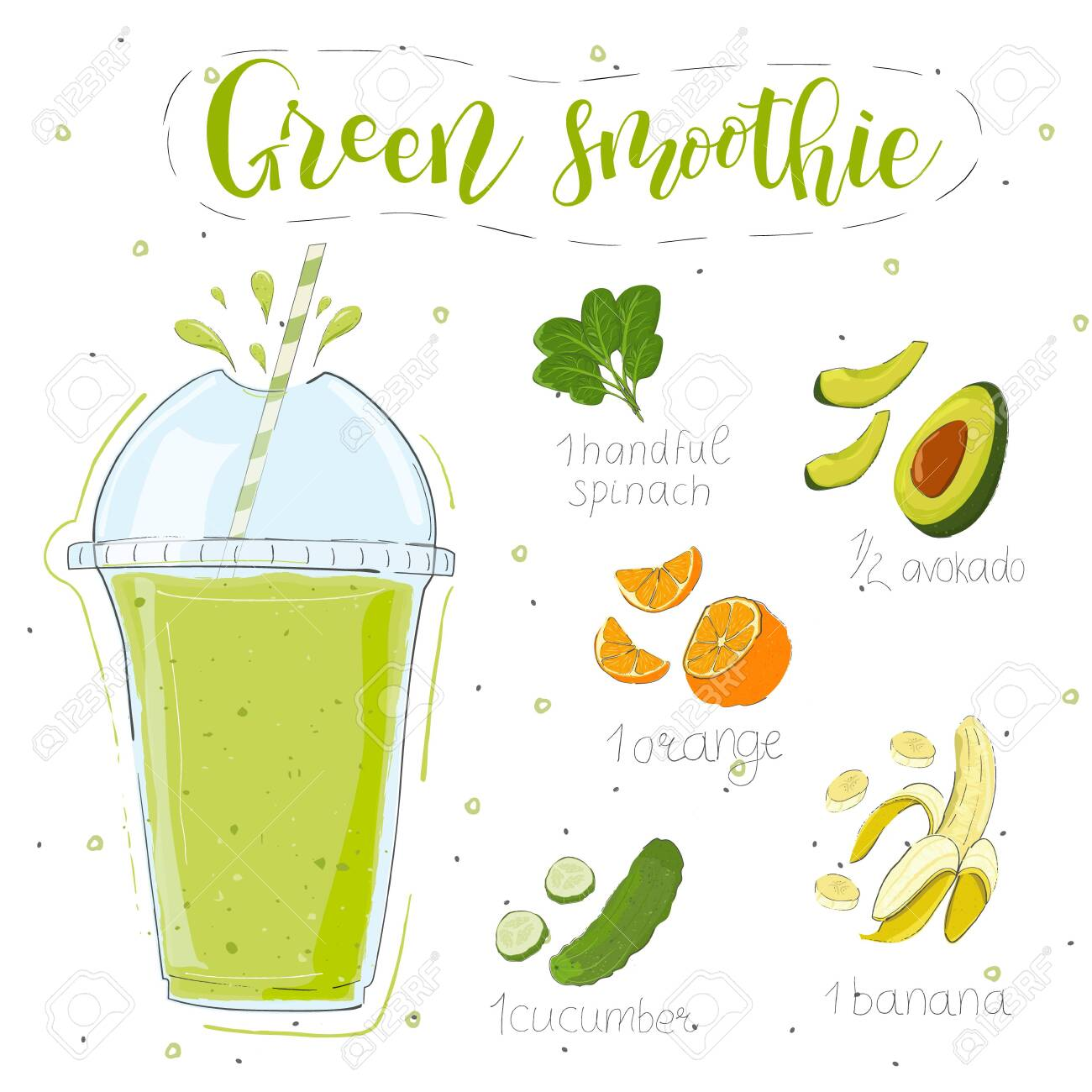 Green smoothie recipe. With illustration of ingredients. Hand draw spinach, avocado, orange, banana, cucumber. Doodle style - 140644932