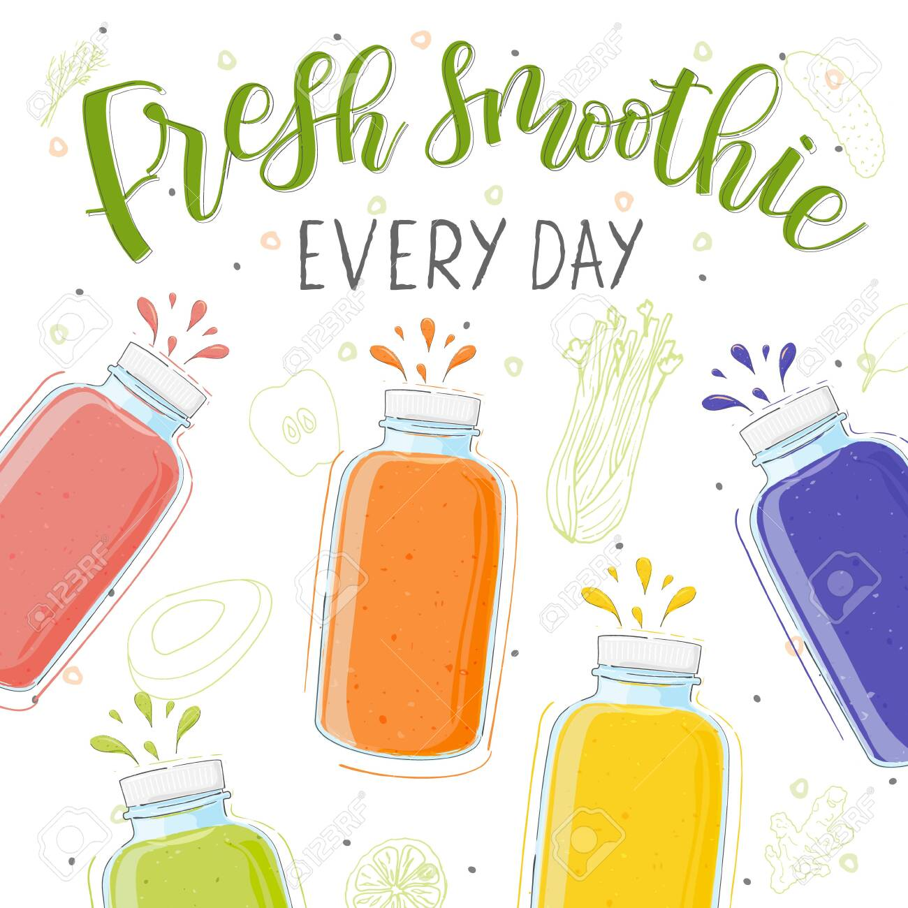 Fresh smoothie in different bottles. Every day. Superfoods and health or detox diet food concept in doodle style. - 140701830