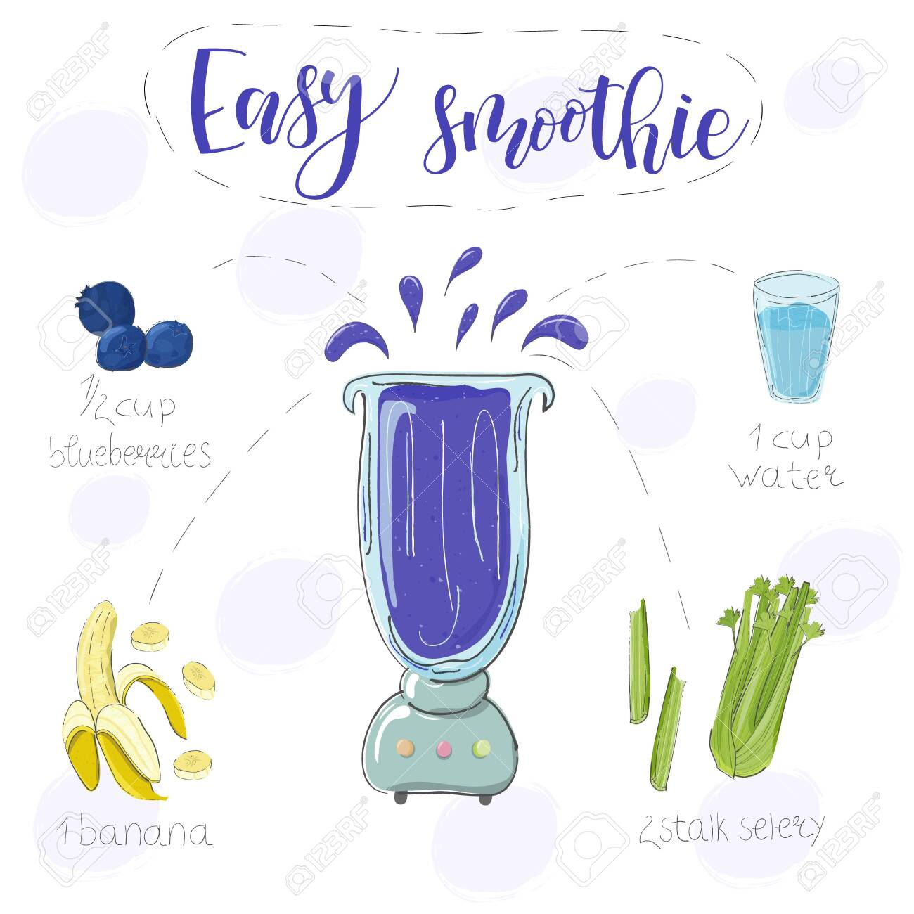 Easy smoothie recipe. With illustration of ingredients. Hand draw blueberries, banana, selery. Doodle style - 142335884