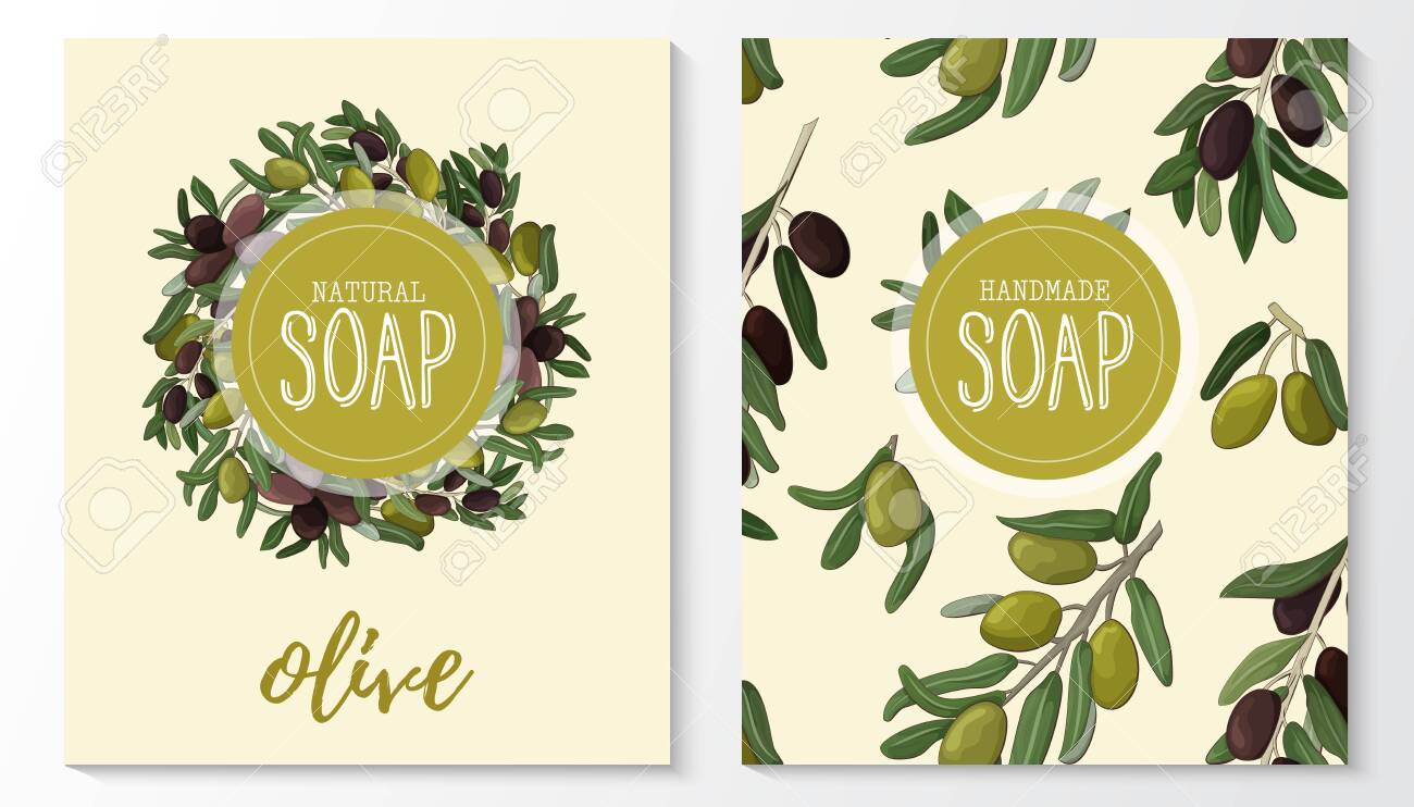 Background with handmade olive soap. Seamless pattern. Organic cosmetic natural soap. - 143732984
