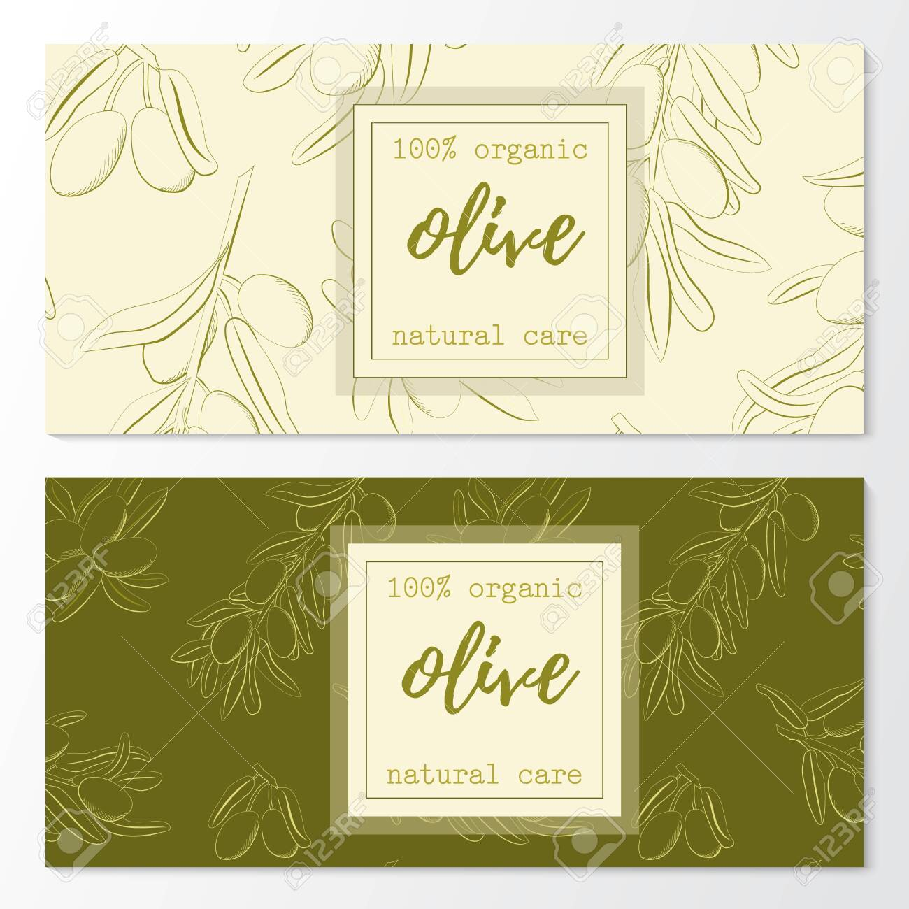 Vector set of olive natural cosmetic horizontal banners on a pattern. - 143732986