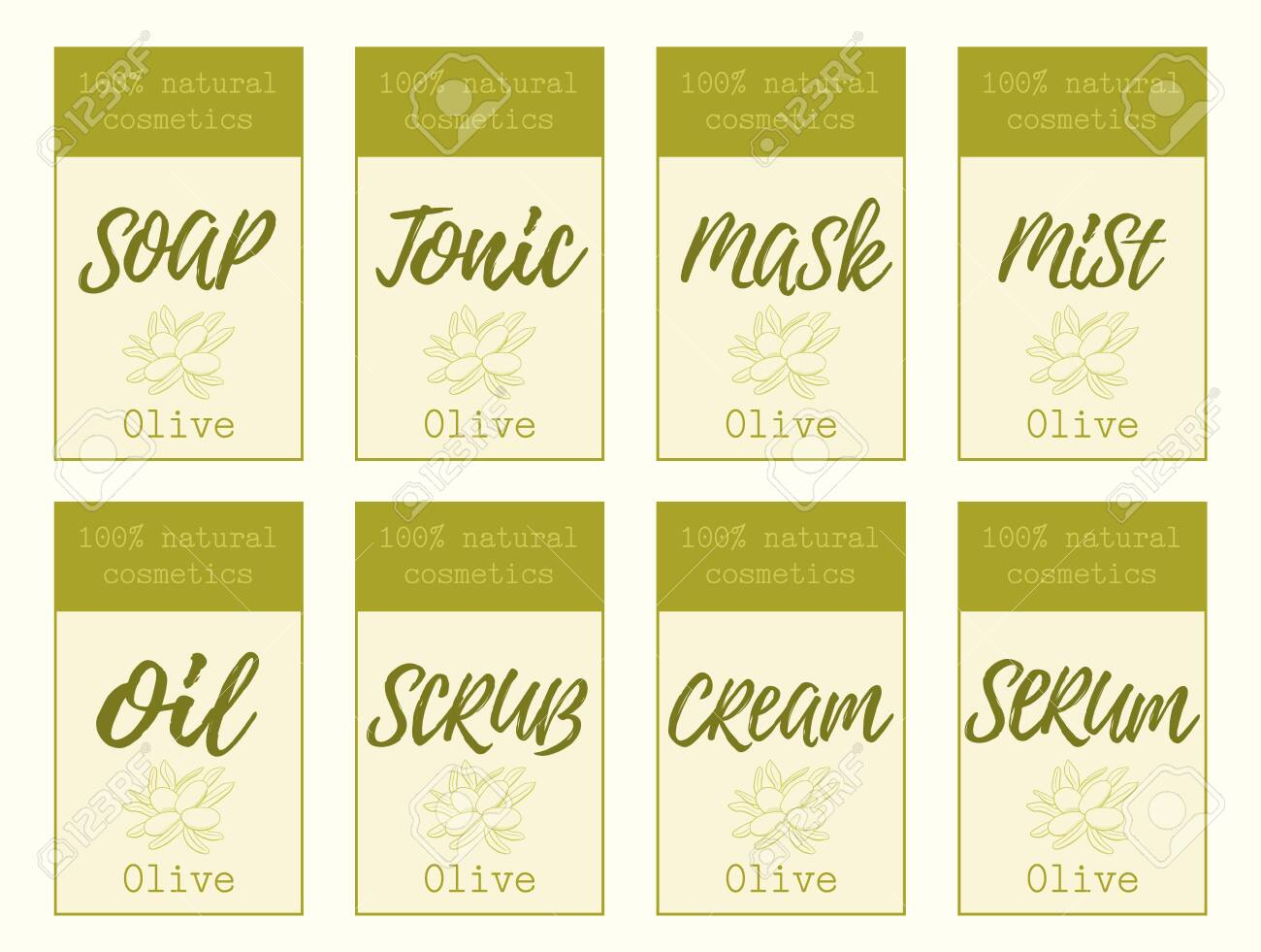 Set of labels for olive cosmetics packaging design. Organic cosmetics and natural care. - 143733014