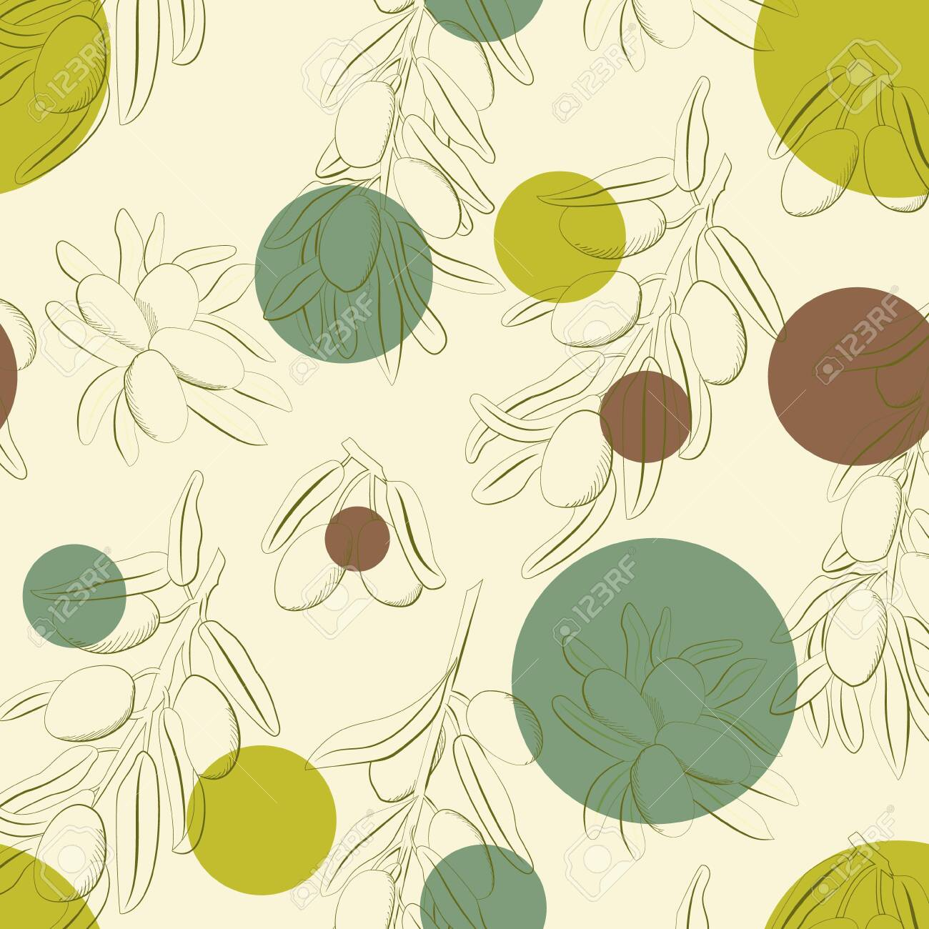 olives and olive branch background hand drawn illustration. Vector doodle style. - 143733040