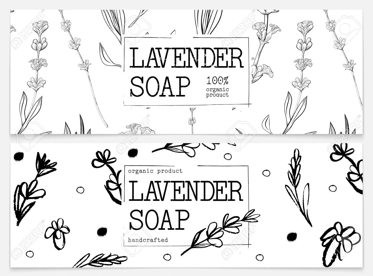 Set packaging of natural soap with lavender. Organic cosmetic natural soap. Vector hand drawn illustration. Black and white design. Design for natural and organic cosmetics, health care products. - 143802711