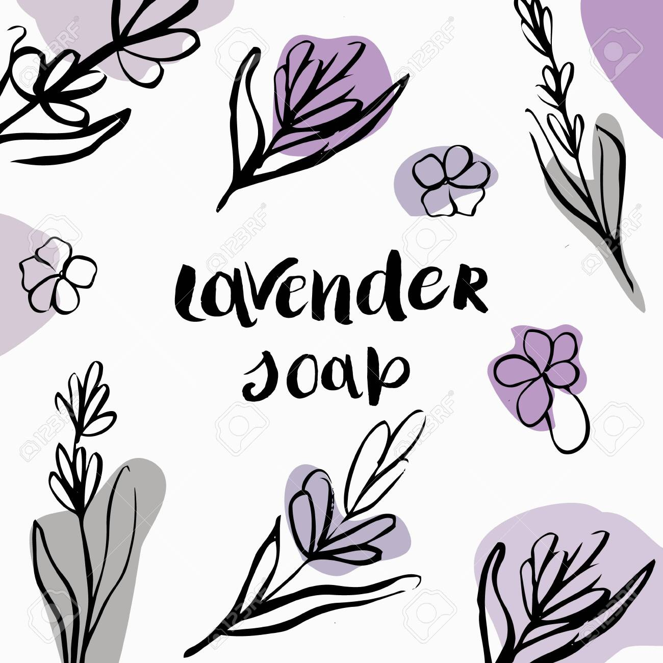 Vector packaging design and template for packaging lavender soap. - 146097062