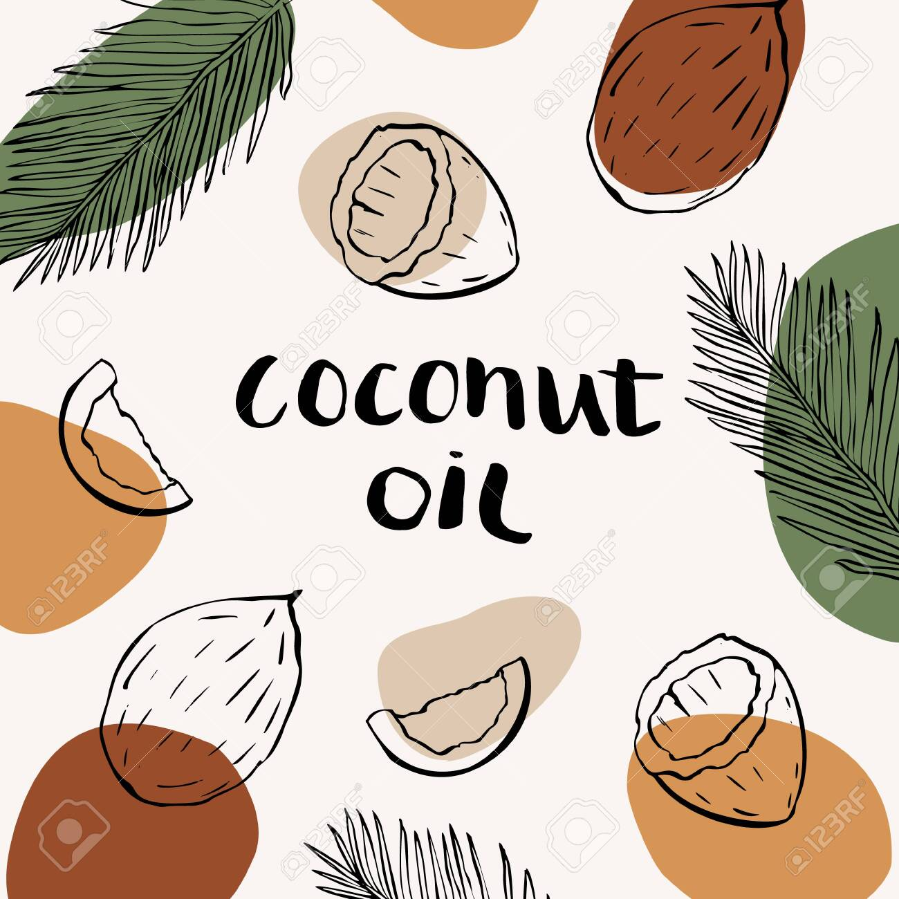 Vector packaging design and template for cosmetics labels and bottles with coconut oil. Abstract colorful background with doodle hand drawn elements. background and stickers for natural, organic cosmetics, food - 145325647