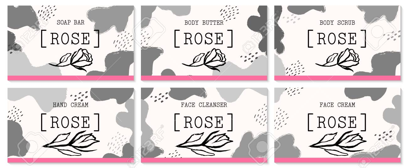 Set of labels for rose cosmetics packaging design. Organic cosmetics and natural care. - 146097107