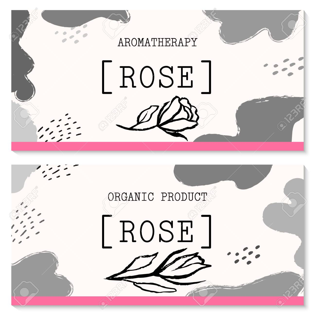 Vector packaging design and template for labels and bottles of rose and rose oil products. Vector hand drawn illustration. Abstract Background Doodle Style Stickers for Natural, Organic Cosmetics, Food - 145964449