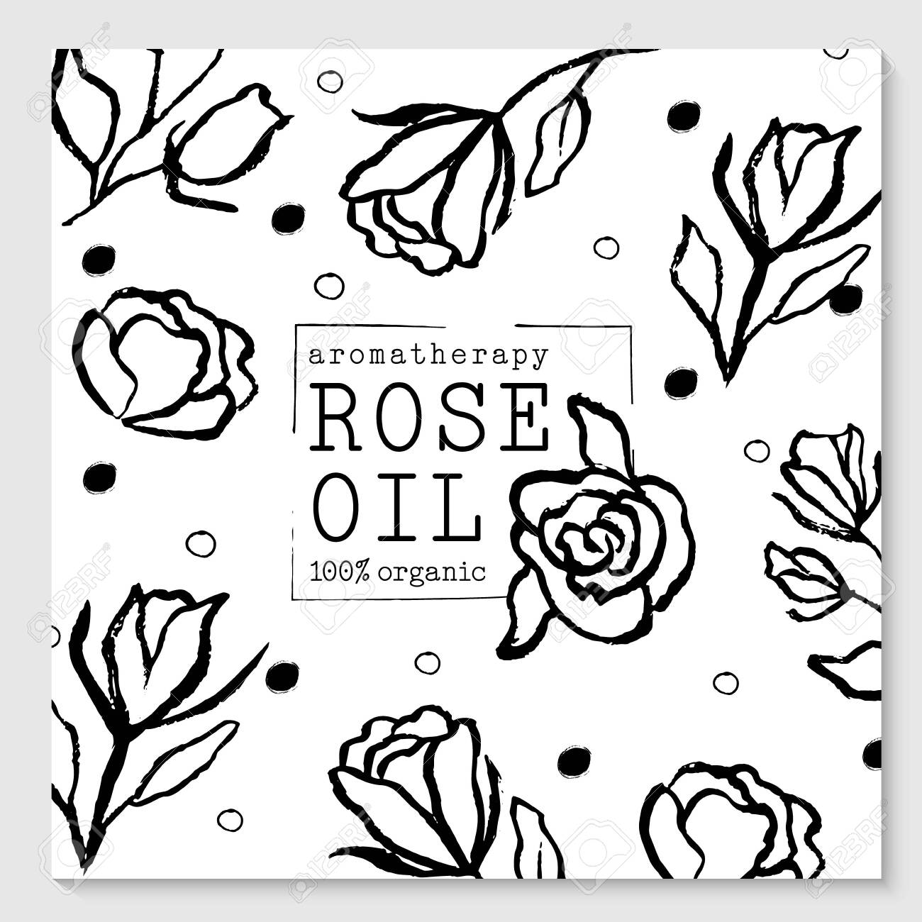 Vector packaging design elements and templates for rose oil labels and bottles - 147735862