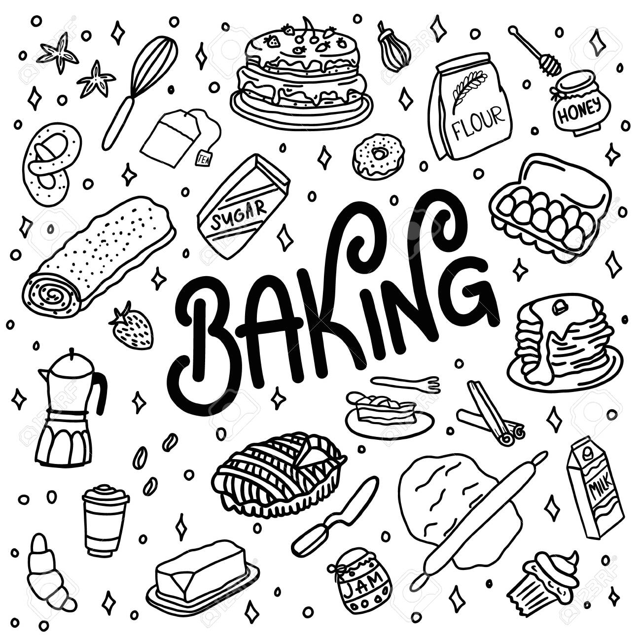 Hand drawn doodle baking, dishes and kitchenware. - 151200953