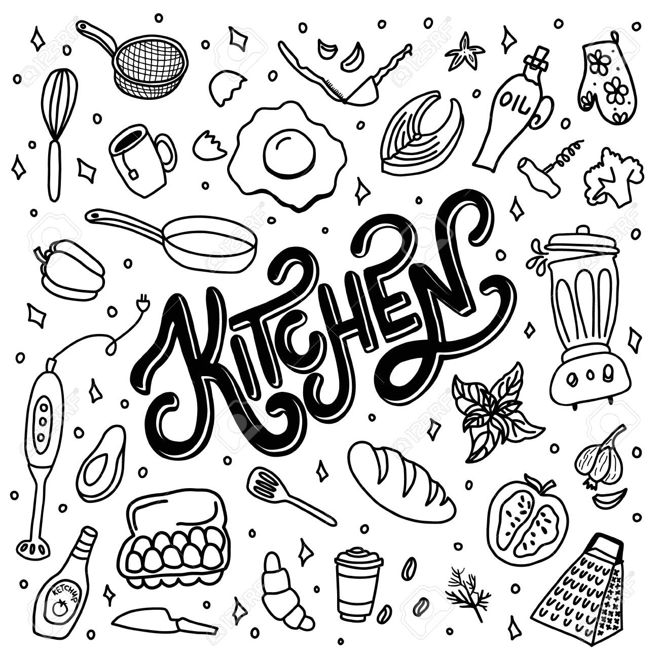 Hand drawn doodles of food and kitchen items - 151189704