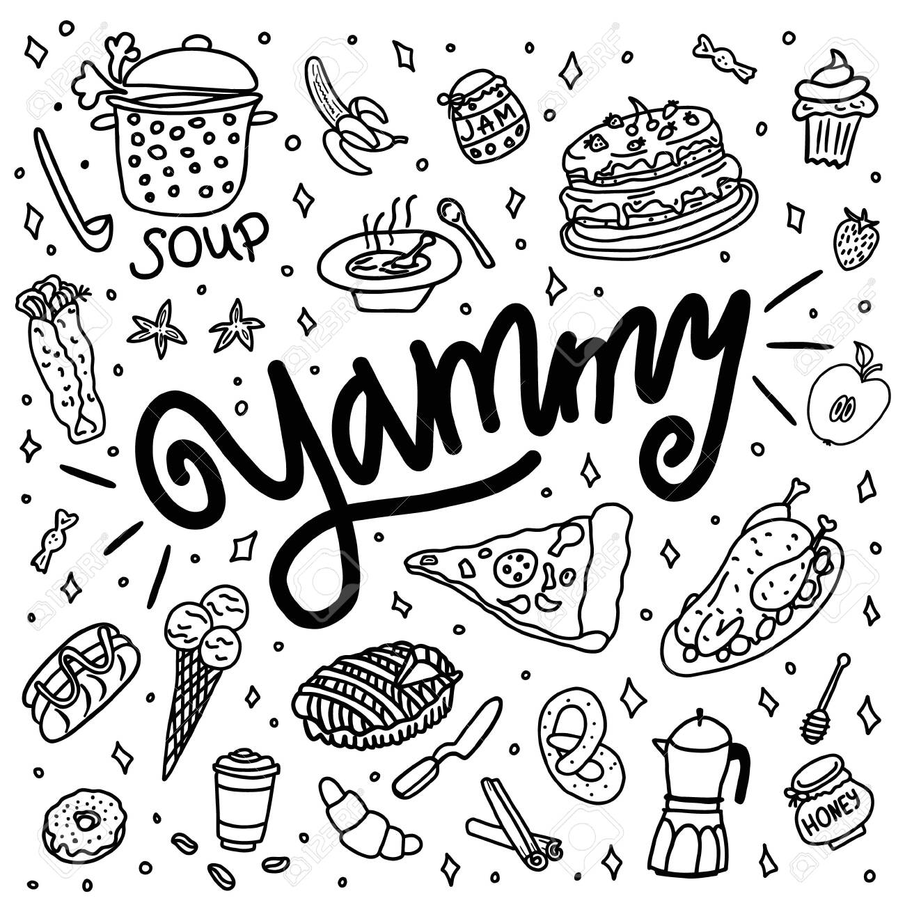 Hand drawn doodle yammy, baking, dishes and kitchenware. - 151172100