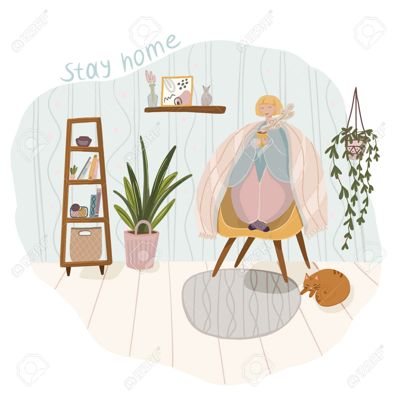 Quarantine or self-isolation. The girl is sitting at home, in the room, drinking coffee. To stay home - 159606423