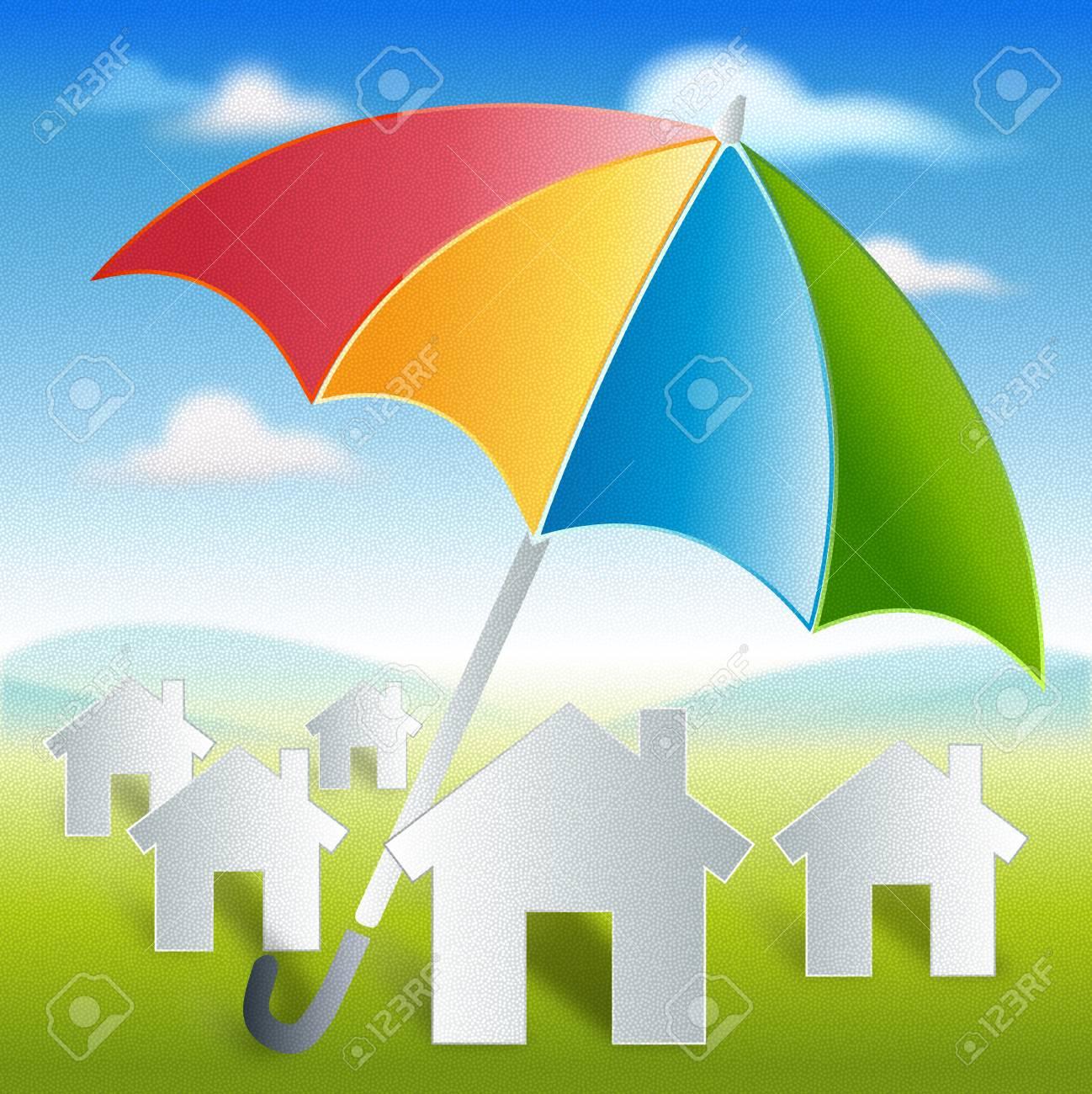 Inicio Con La Protección Del Paraguas De Colores Y La Seguridad En ...