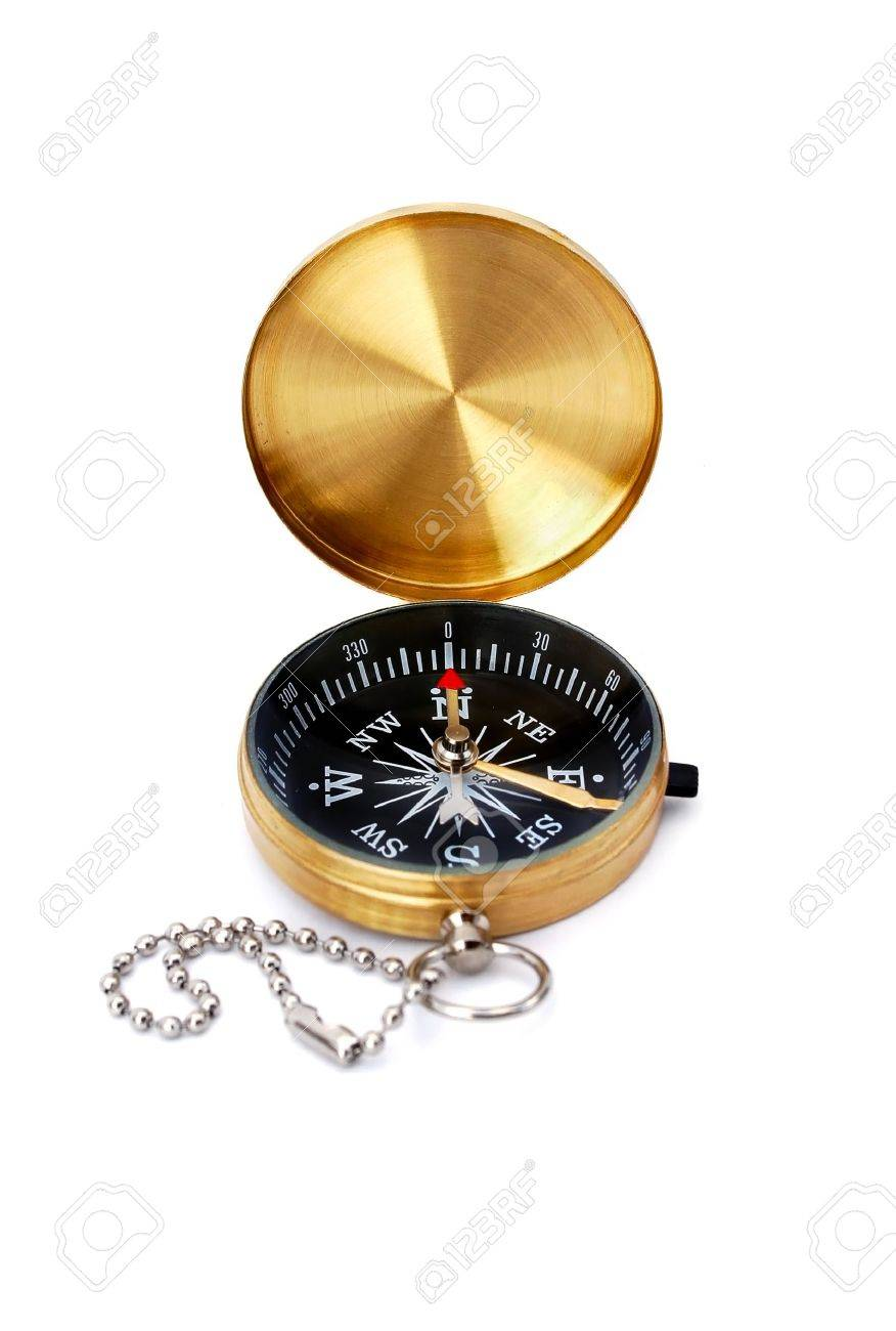 Golden compass isolated on white Stock Photo - 6786026