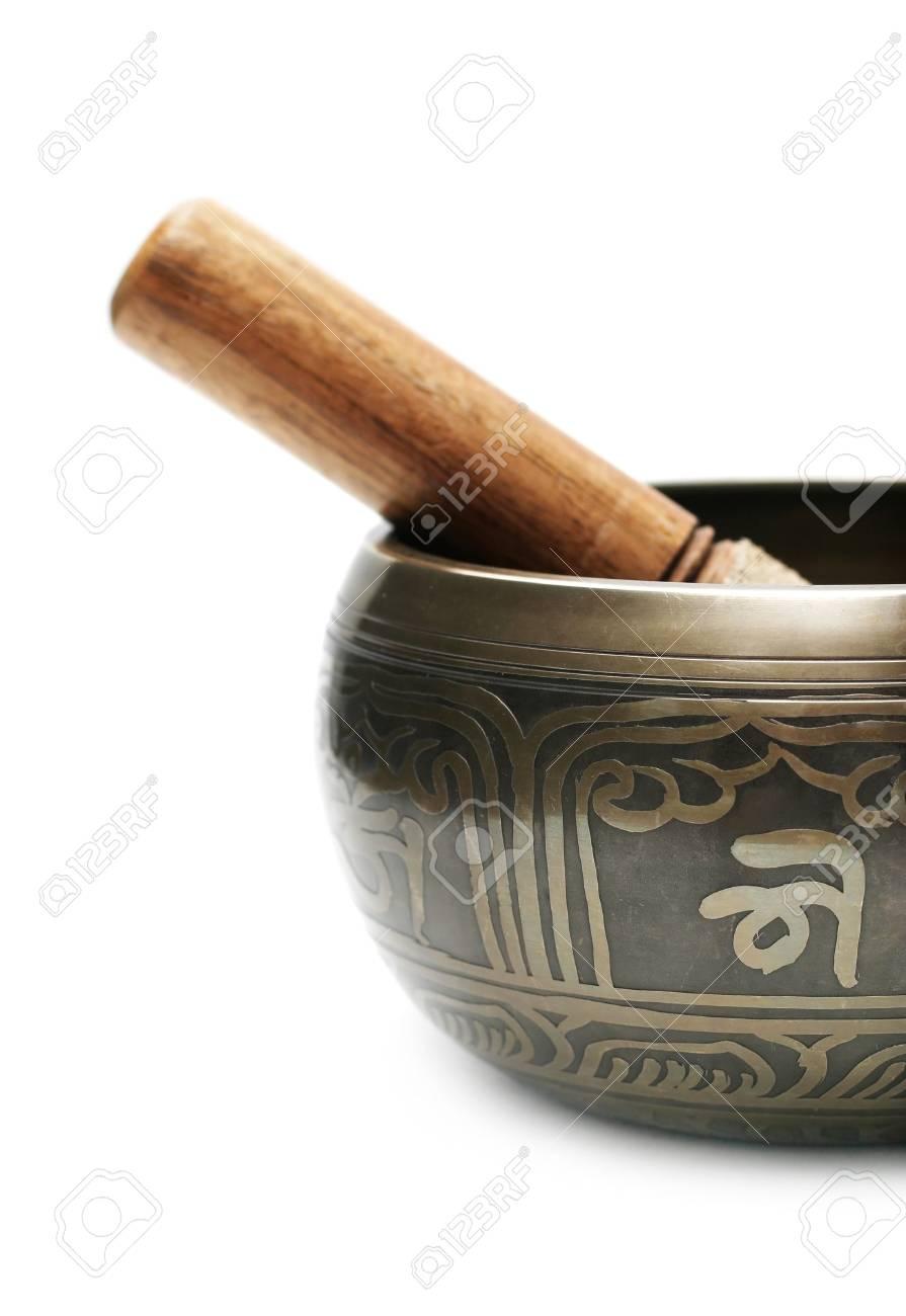 Tibetan singing bowl isolated on white Stock Photo - 6786457