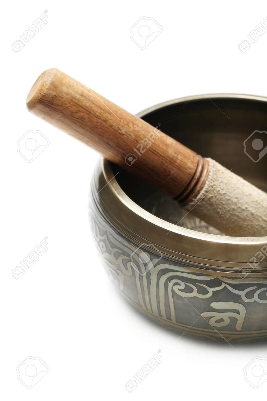Tibetan singing bowl isolated on white Stock Photo - 6788223