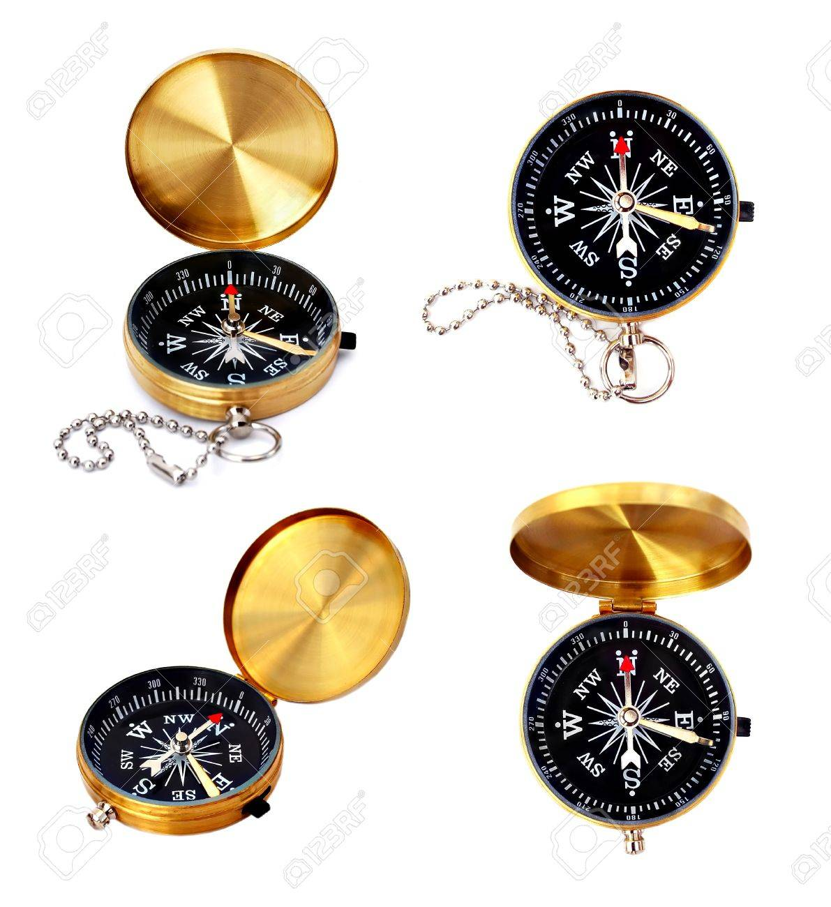 Golden compass set isolated on white Stock Photo - 7402442