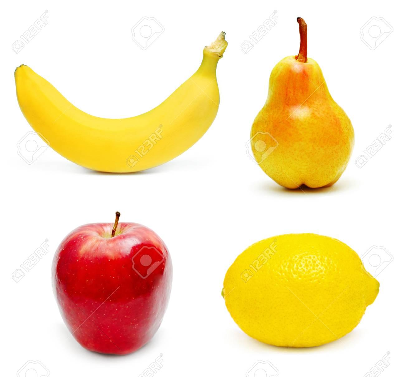Ripe fruits set isolated on white background Stock Photo - 8167239