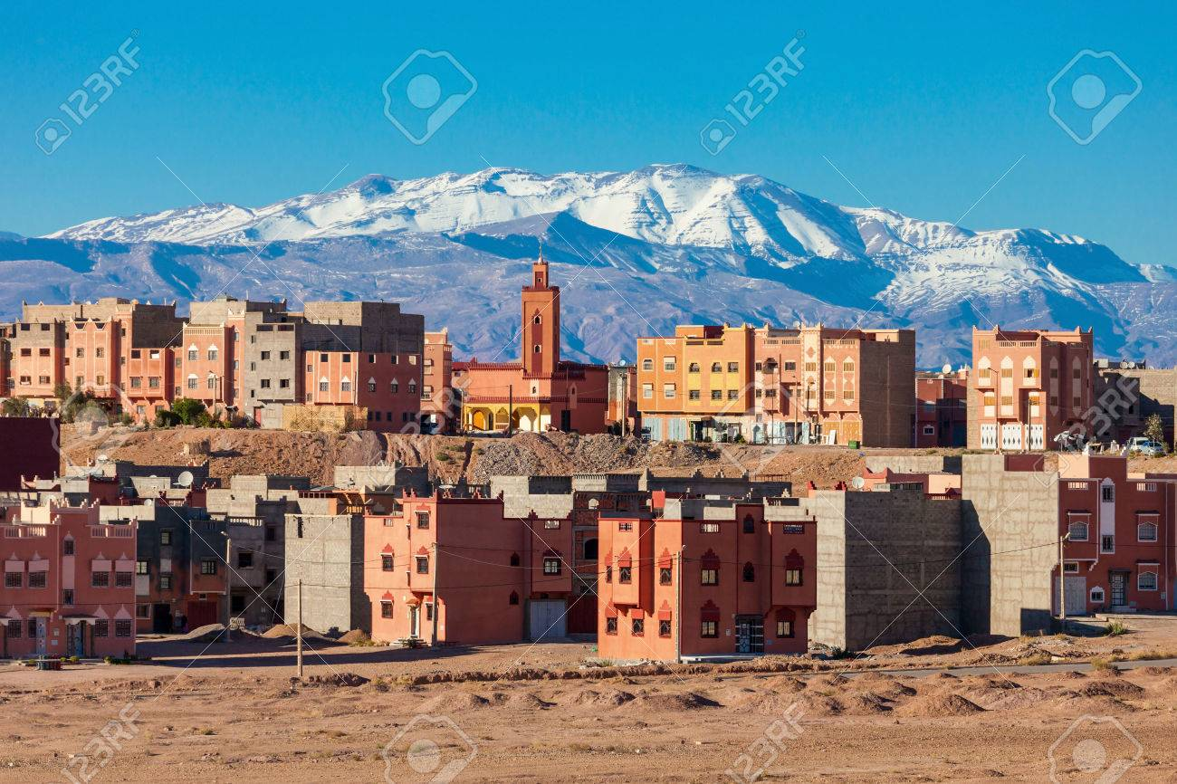 Ouarzazate city and High Atlas Mountains aerial panoramic view, Morocco. Ouarzazate is a city and capital of Ouarzazate Province in Morocco. - 63309838