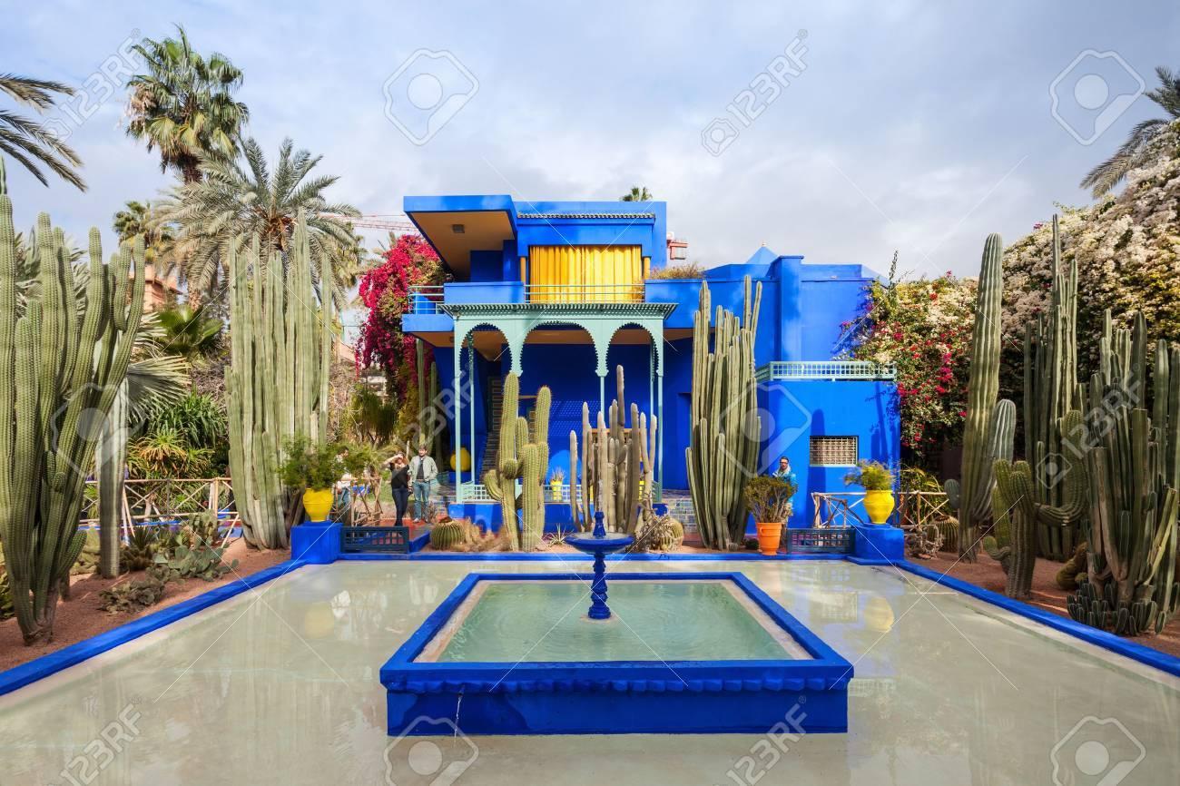 Marrakech Maroc 22 Fevrier 2016 Le Jardin Majorelle Est Un