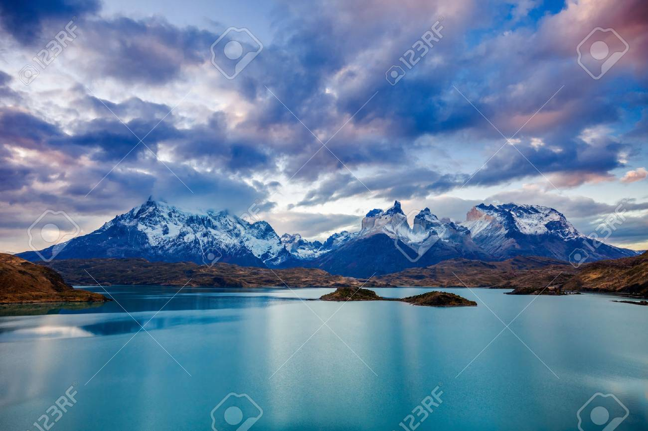 The Torres del Paine National Park sunset view. Torres del Paine is a national park encompassing mountains, glaciers, lakes, and rivers in southern Patagonia, Chile. - 63339667