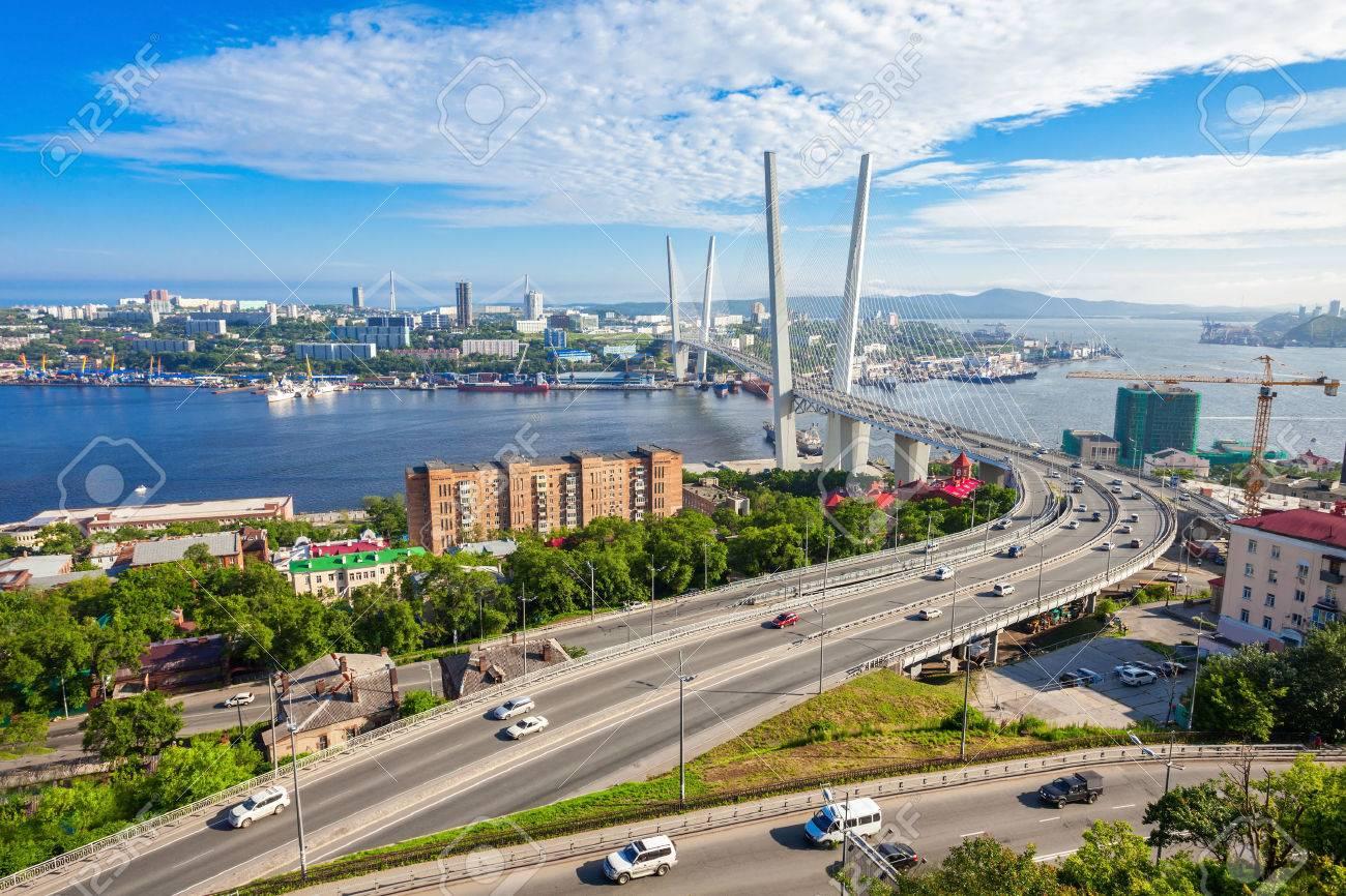 The Zolotoy Golden Bridge is cable-stayed bridge across the Zolotoy Rog (Golden Horn) in Vladivostok, Russia - 67071072