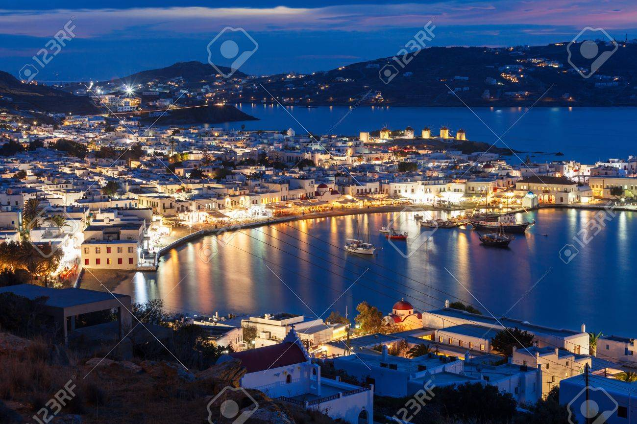 Mykonos island aerial panoramic view at night. Mykonos is a island, part of the Cyclades in Greece. - 75859199