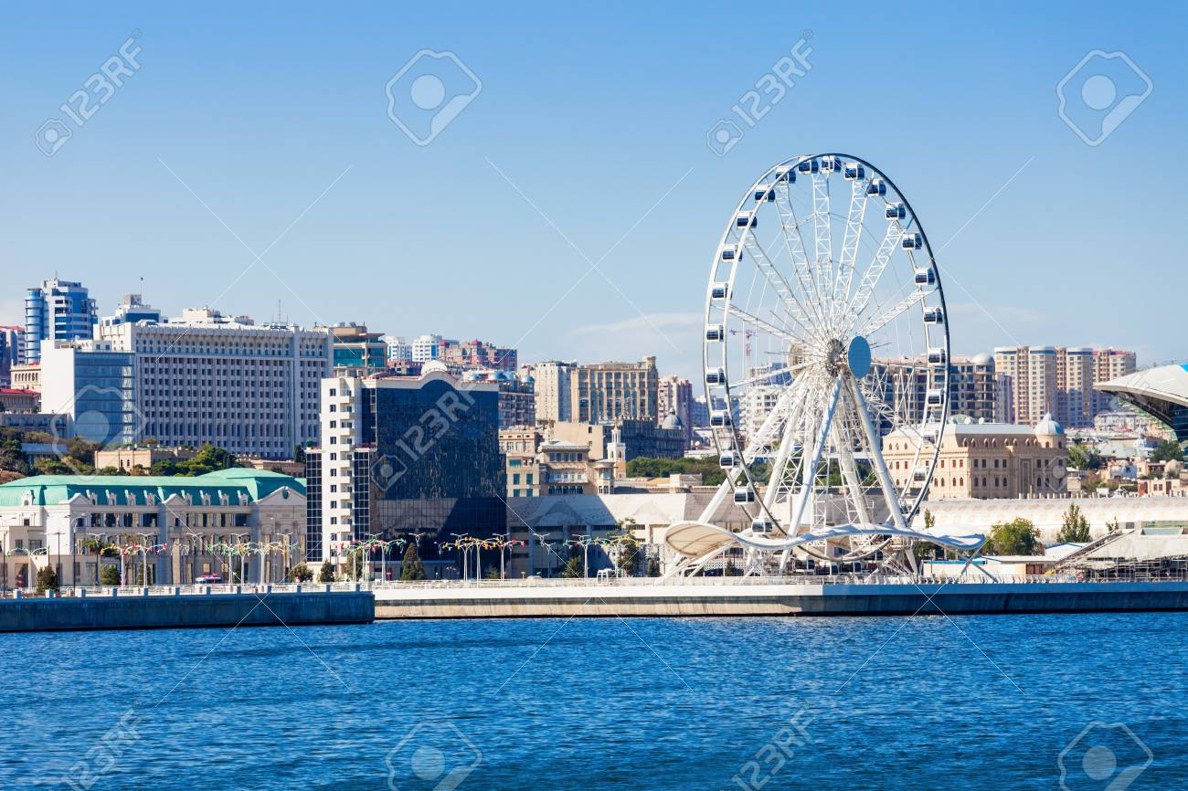 Baky skyline view from Baku boulevard (the Caspian Sea embankment)