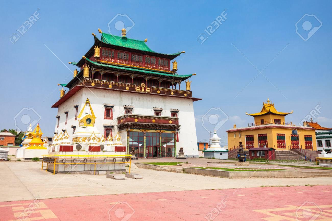 The Gandantegchinlen or Gandan Monastery is a Chinese style Tibetan Buddhist monastery in the Mongolian capital of Ulaanbaatar - 79084431