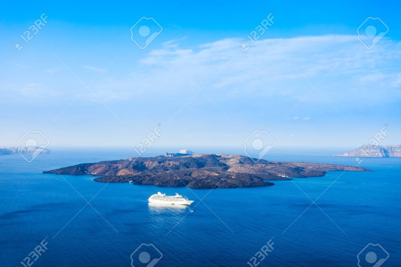 Santorini Volcano Caldera Located In The Southern Aegean Sea