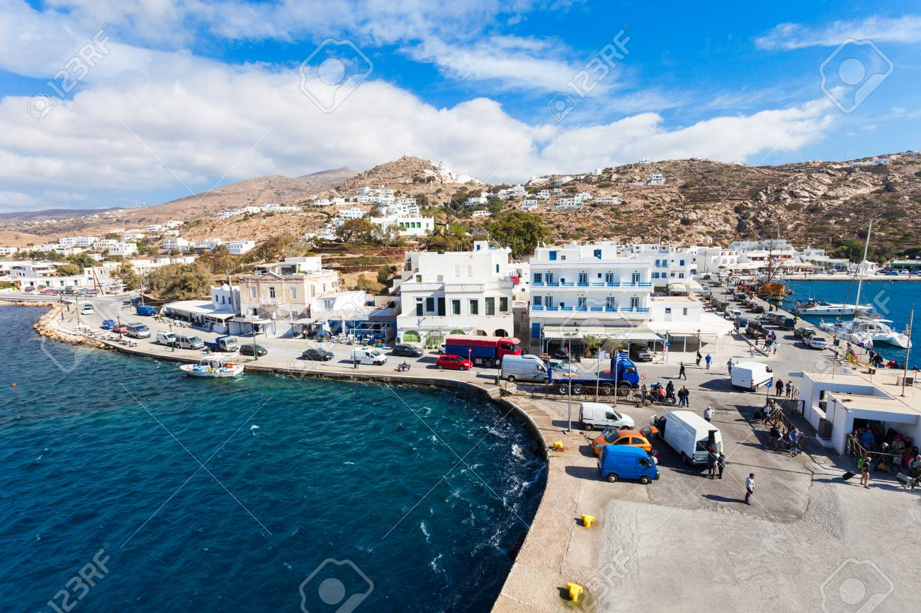 The Port Of Ios At The Head Of Ormos Harbor Ios Island Cyclades Stock Photo Picture And Royalty Free Image Image 79084620