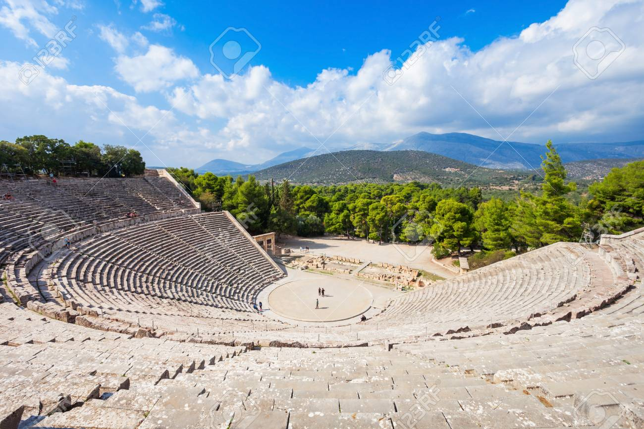 The Epidaurus Ancient Theatre is a theatre in the Greek city of Epidaurus, built on the Cynortion Mountain, near Lygourio, and belongs to the Epidaurus Municipality. - 92401839