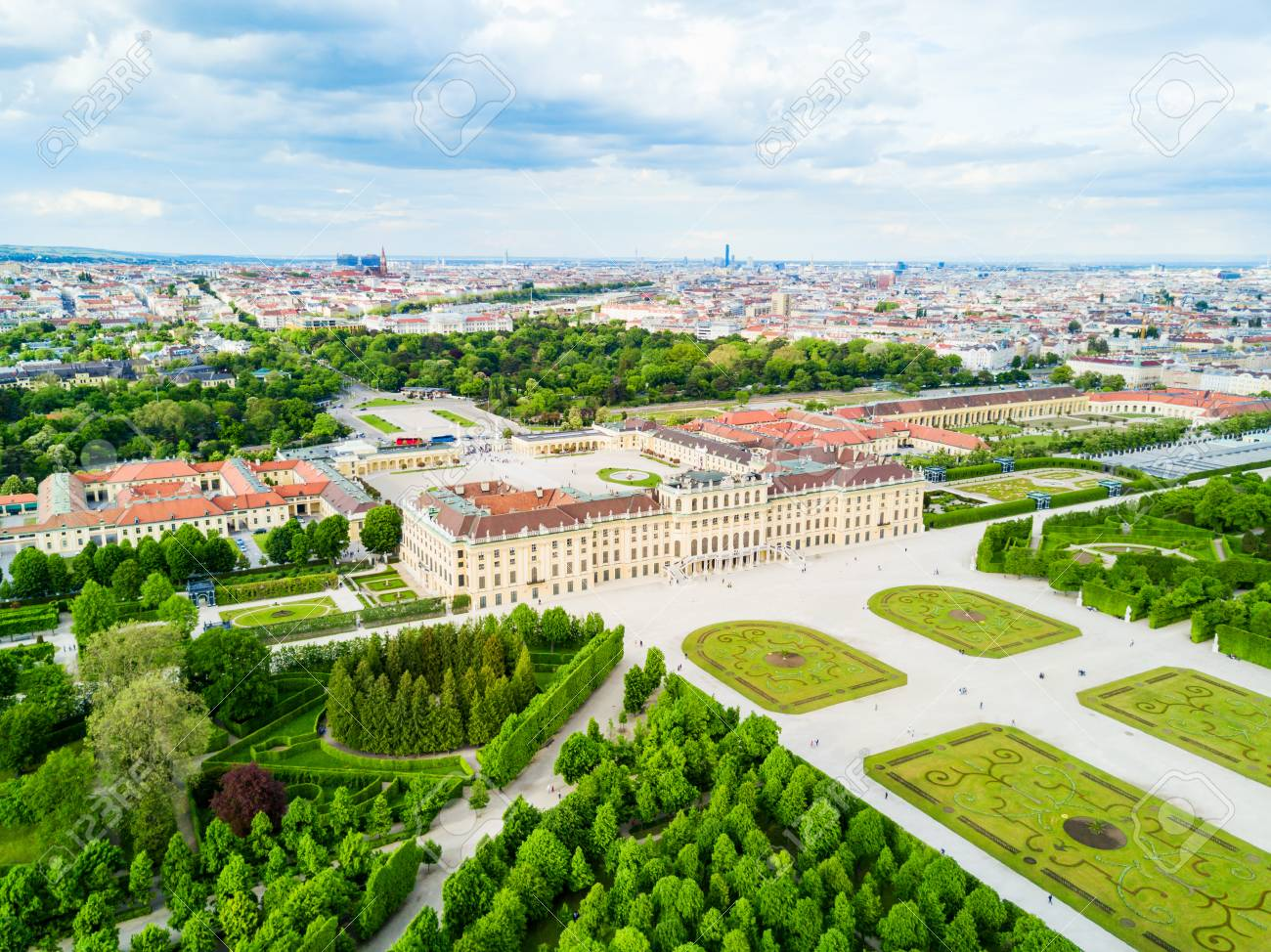 Schonbrunn Palace aerial panoramic view. Schloss Schoenbrunn is an imperial summer residence in Vienna, Austria. Schonbrunn Palace is a major tourist attraction in Vienna, Austria. - 92678406