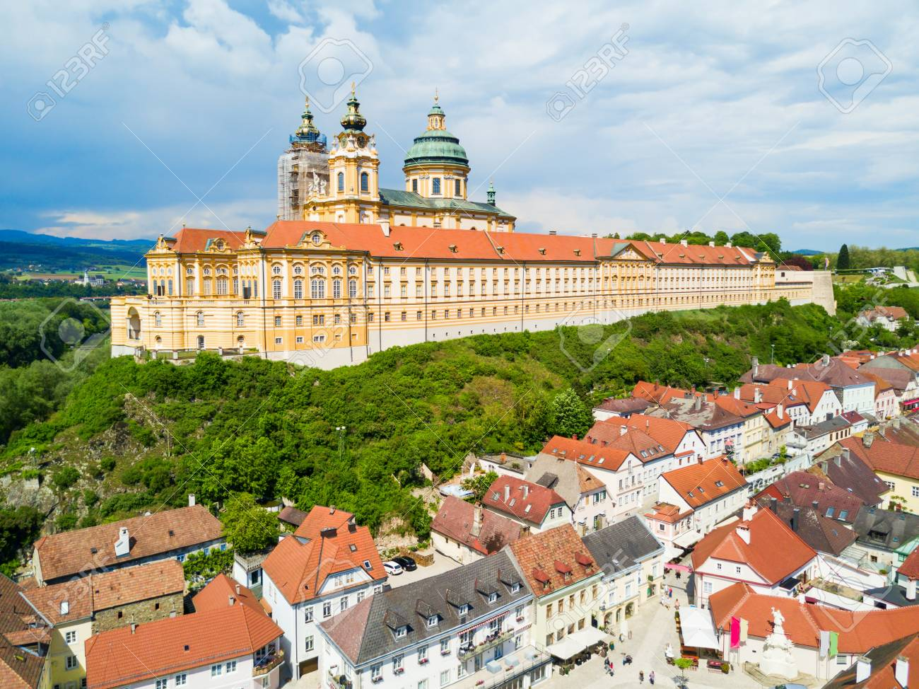Melk Abbey Monastery aerial panoramic view. Stift Melk is a Benedictine abbey in Melk, Austria. Monastery located on a rocky outcrop overlooking the Danube river and Wachau valley. - 92681959