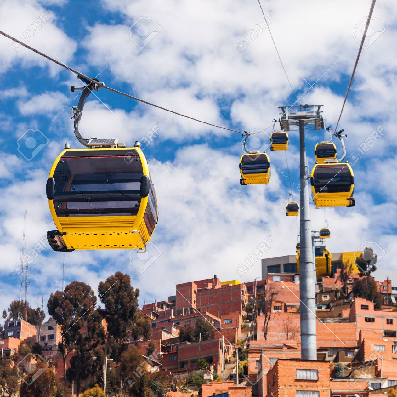 Mi Teleferico is an aerial cable car urban transit system in the city of La Paz, Bolivia. - 92625867