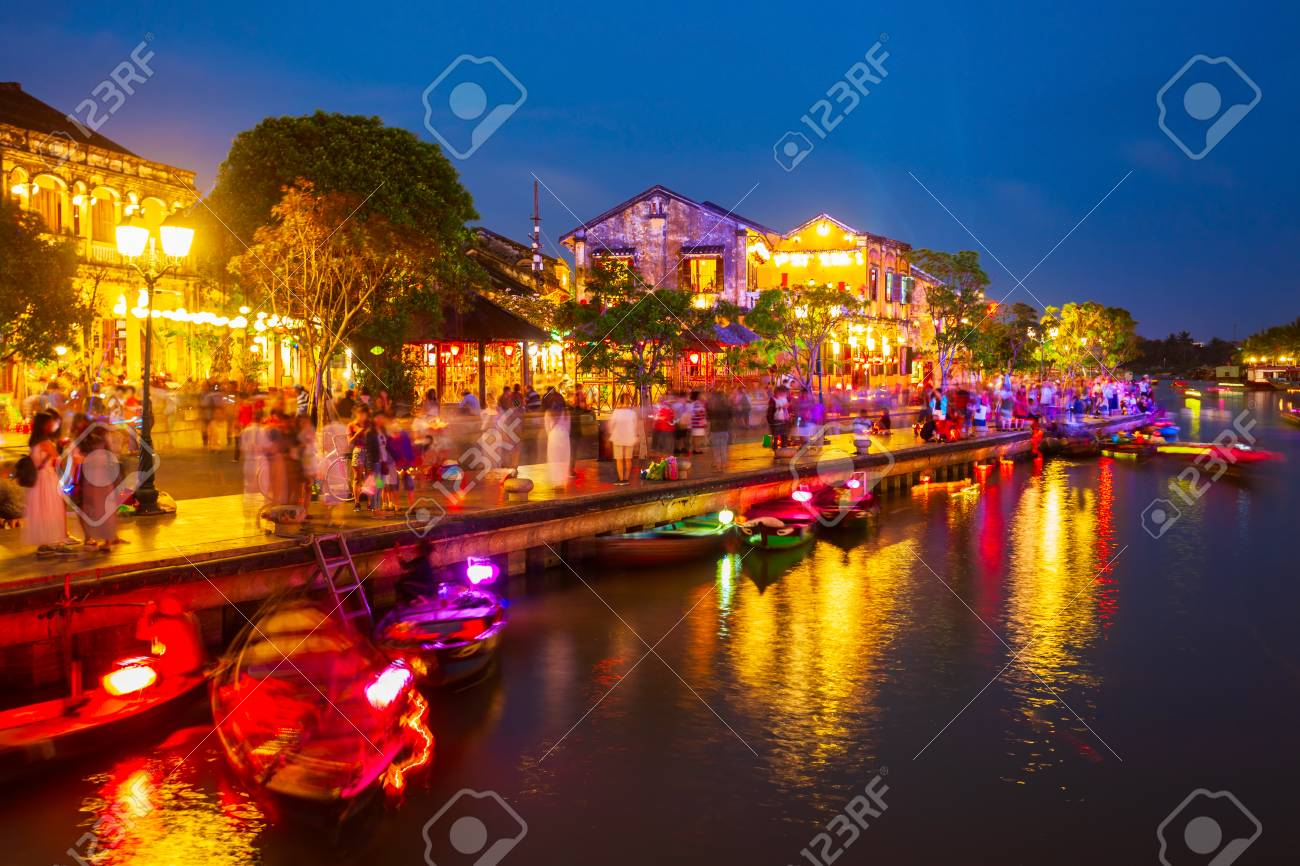 Fishing boats at the riverfront of Hoi An ancient town in Quang Nam Province of Vietnam - 103393751