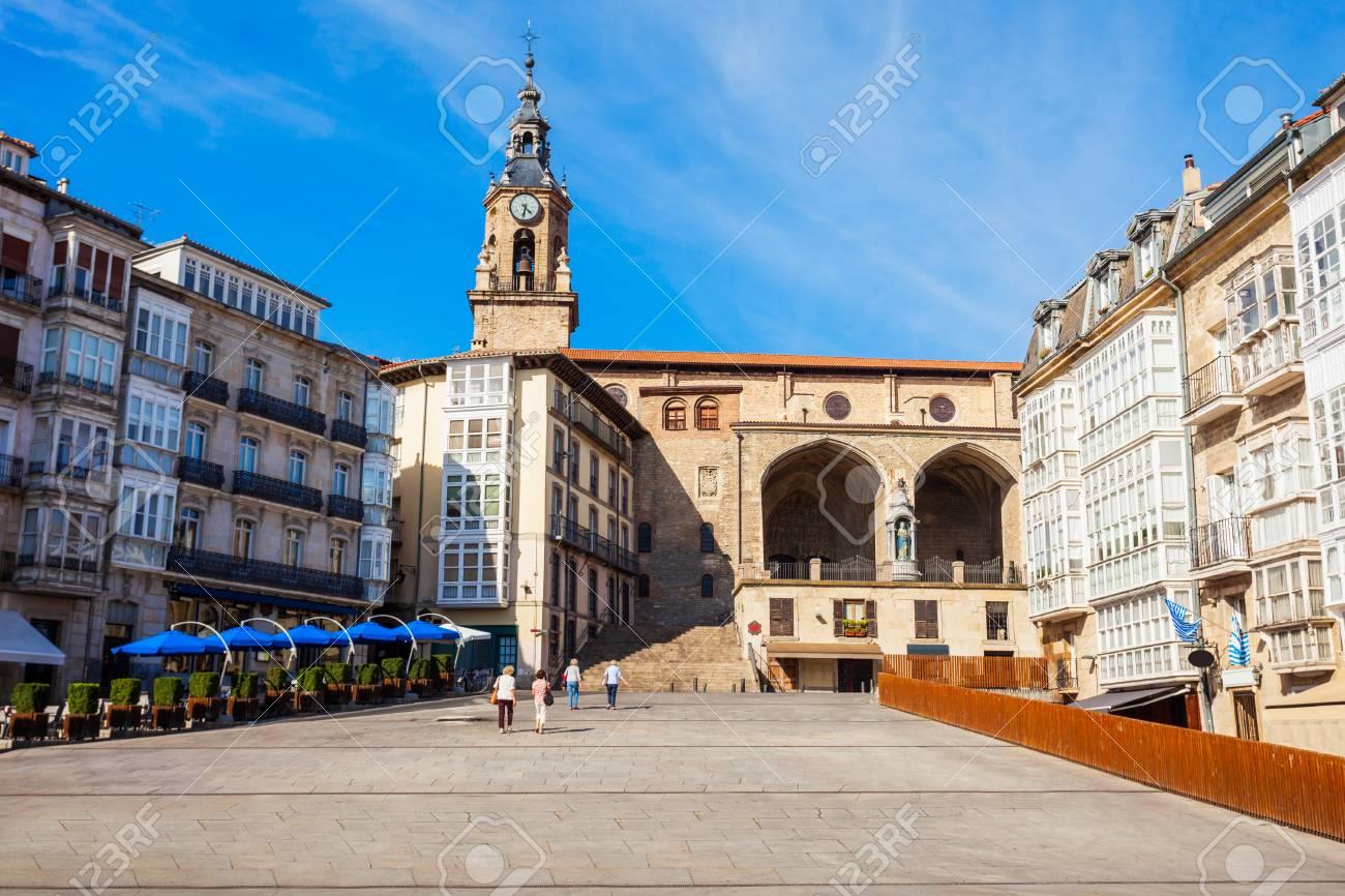 Church of San Miguel at the Virgen Blanca Square in Vitoria-Gasteiz, Spain - 109328080