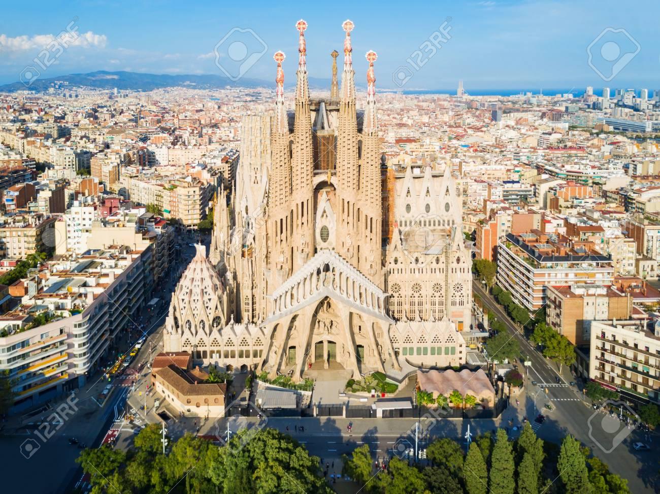 BARCELONA, SPAIN - OCTOBER 03, 2017: Sagrada Familia cathedral aerial panoramic view. Sagrada Familia is a catholic church in Barcelona, designed by Catalan architect Antoni Gaudi - 112108249