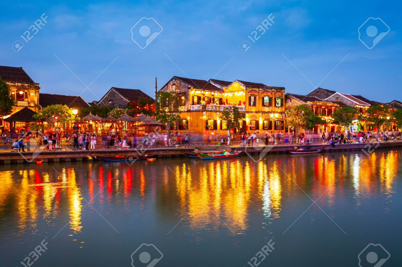 Fishing boats at the riverfront of Hoi An ancient town in Quang Nam Province of Vietnam - 112165403
