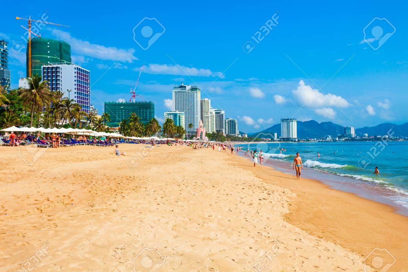Nha Trang city beach is a public beach located in the centre of Nha Trang in Vietnam - 119589305