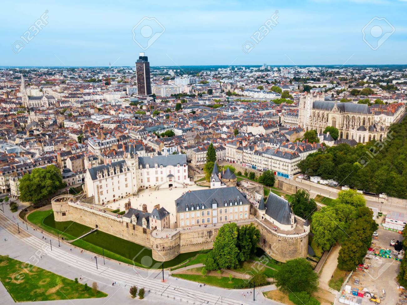 Nantes aerial panoramic view. Nantes is a city in Loire-Atlantique region in France - 122423567
