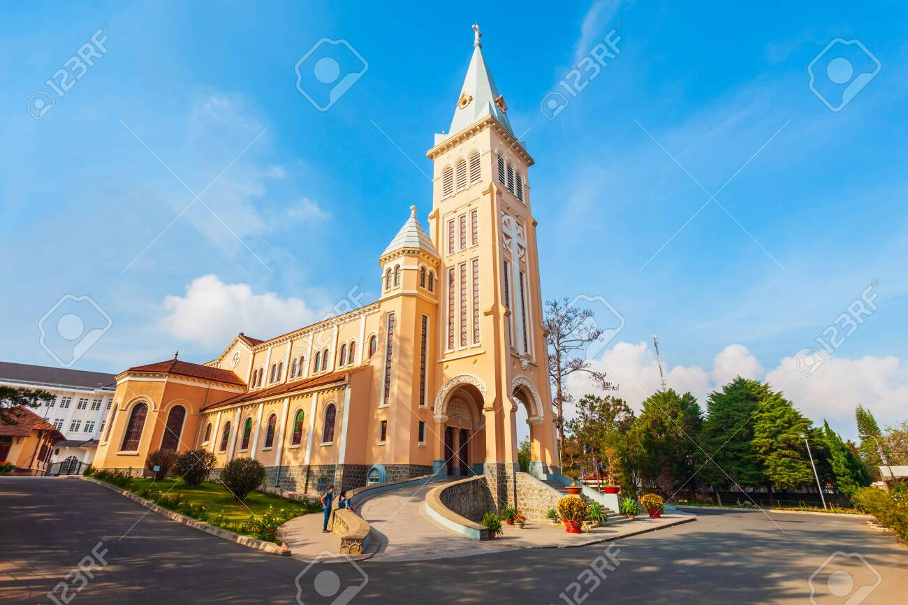 The St. Nicholas Cathedral is a Roman Catholic church in Dalat in Vietnam - 128271376