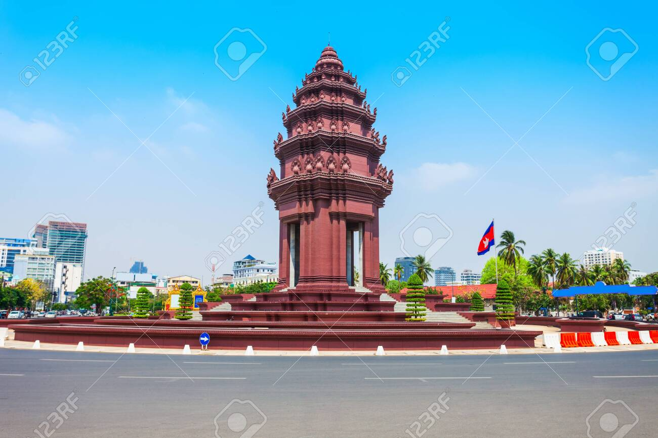 The Independence Monument or Vimean Ekareach in Phnom Penh city, capital of Cambodia - 128275070